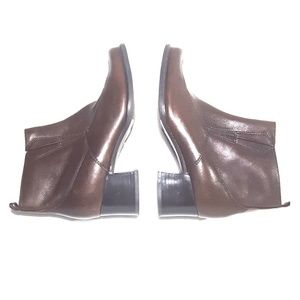 Vintage 90s Chunky Heel Brown Leather Ankle Boots